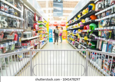 Trolley Shopping Cart or PushCart in Automobile or Car accessories Section in Supermarket or Hypermarket Retail Outlet as Modern Lifestyle Shopping Concept with bokeh