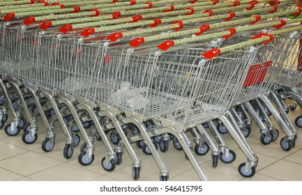 trolley for transportation of products in store, metal on wheels