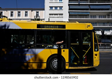 A Trolleybus in central Athens, Greece on May 26, 2016