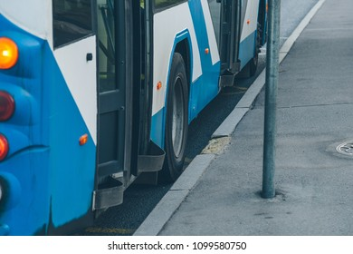 trolleybus at a close-up stop