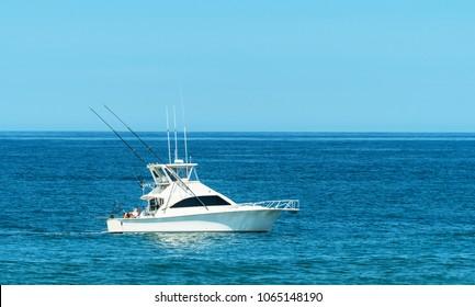 Trolling boat in the ocean.