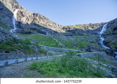 Trolls Path (also known as Trollstigen) -a serpentine mountain road. Popular tourist attraction due to its steep incline of 10% and eleven hairpin bends up a steep mountainside. Norway, Europe.