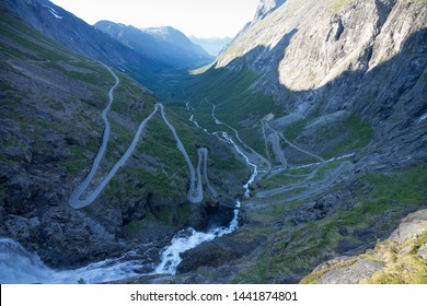 Trolls Path (known as Trollstigen) -a serpentine mountain road. Popular tourist attraction due to its steep incline of 10% and eleven hairpin bends up a steep mountainside. Norway, Europe.