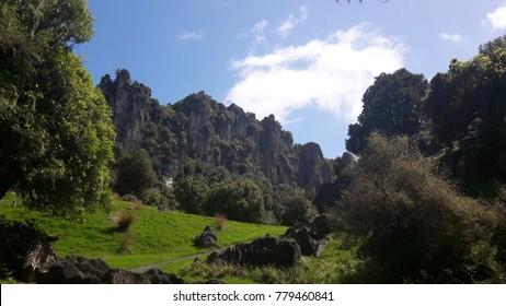 "Trollshaw cliffs near Piopio. The area now called Hairy Feet Waitomo was used in ""The Hobbit"" movies"