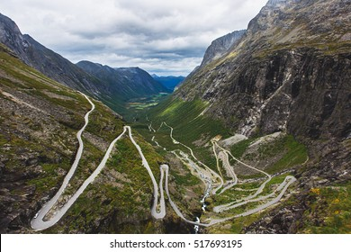 Trollstigen - famous serpentine road mountain road in the Norwegian mountains, Norway, summer sunny day landscape