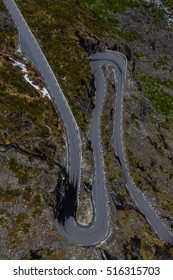 Trollstigen mountain road with its bends from above
