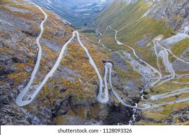 Trollstigen Mountain Road in More og Romsdal, Norway.