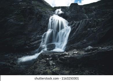 TROLLSTIGEN, NORWAY - June, 2018. Catwalk on Stigfossen Waterfall