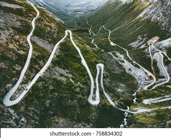 Trollstigen road in Norway serpentine scandinavian travel famous landmarks aerial view