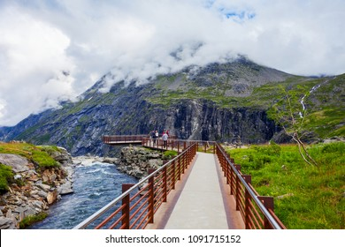 Trollstigen viewing or viewpoint platform. Trollstigen or Trolls Path is a serpentine mountain road in Rauma Municipality in Norway