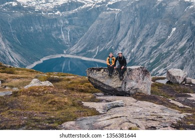 Trolltunga, Odda/Norway - 21. June 2016: Hikers on the hiking trail to the world famous Trolltunga hike. Beautiful Norway, outdoors paradise, adventure, tourism, Europe, Scandinavia