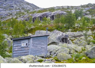 Trolltunga, Odda/Norway: 21. June 2016, Mountain cabins and houses on the hiking trail to the world famous Trolltunga rock, beautiful Scandinavia, Europe, nature lovers, outdoors, active lifestyle