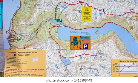 Trolltunga/Norway - 5 19 18:map of Trolltunga trail. Map is very detailed with distance measured in kilometers on it. In the middle is a troll, reminding not to pollute the nature. Big mark of Parking