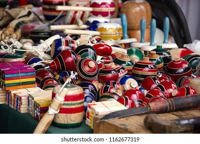 Trompos, baleros and other traditional mexican toys.