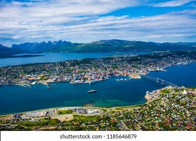 Tromso city of Norway with the bridge