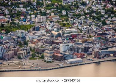 Tromso city in Tromsoya Island as seen from Mount Storsteinen, Norway.