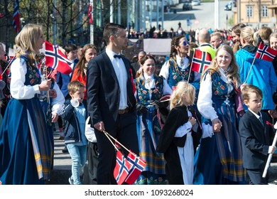 Tromso - MAY 17: Norwegian Constitution Day is the National Day of Norway and is an official national holiday observed on May 17 each year. Pictured on May 17, 2018