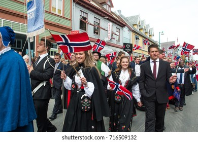 Tromso - MAY 17: Norwegian Constitution Day is the National Day of Norway and is an official national holiday observed on May 17 each year. Pictured on May 17, 2017