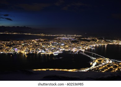 Tromso at Night - View from Fjellheisen in Tromso, Norway