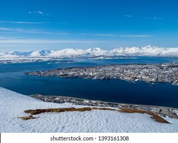 Tromso, Norway - Apr 17th, 2019: Bridge of Tromso city view from Storsteinen hill
