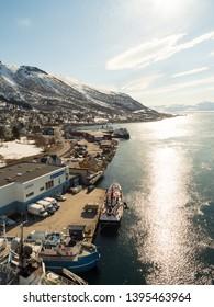 Tromso, Norway - Apr 17th, 2019: City view of Tromso from Tromso bridge, Norway