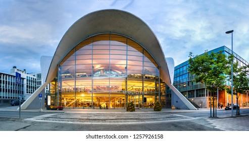 Tromso, Norway - August 4th, 2018: The hyperbolic paraboloid form of the Tromso bibliotek og byarkiv, public library in Tromso, Norway.