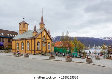 TROMSO, NORWAY - CIRCA MAY, 2018:  The townscape of Tromso in Norway