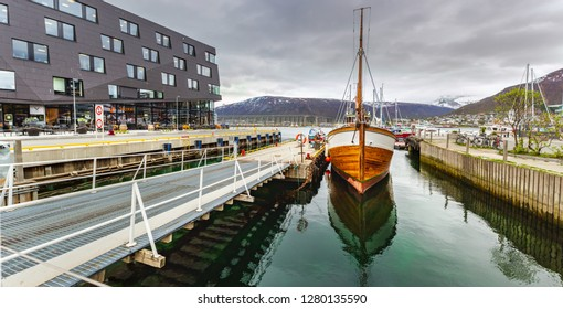 TROMSO, NORWAY - CIRCA MAY, 2018:  The seascape and the Port of Tromso in Norway