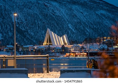 Tromso, Norway -  December 2018 : Tromso Harbour and Arctic Cathedral at night