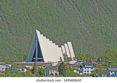 Tromso, Norway, Europe: -June 13th 2019-Distinctive architecture of the Cathedral of the Arctic in Tromso, Norway above the Arctic Circle
