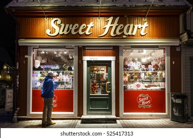TROMSO, NORWAY - FEBRUARY 23, 2016: Candy shop Sweet Heart in the town of Tromso, Troms county, Norway