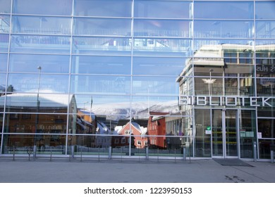 TROMSO NORWAY ON APRIL 2016: The library in Tromso is a city and municipality in Troms county, Norway