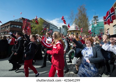 Tromso / NORWAY - on May 17, 2010: A public holiday in Norway. Norwegians at traditional celebration and parade on Storgat Street