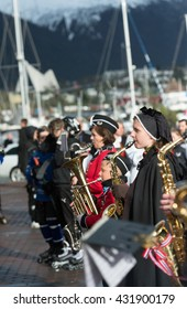 Tromso / NORWAY - on May 17, 2016: A public holiday in Norway. Norwegians at traditional celebration and parade on Storgat Street