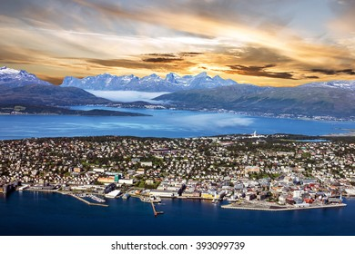 Tromso, Norway. Panoramic sunset sea view from mountain, Norwegian city