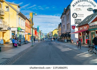 TROMSO, NORWAY, SEPTEMBER 06, 2018: Street view of Tromso. Located 350 kilometres north of Arctic Circle it's the largest city in Northern Norway and popular place to observe the northern lights