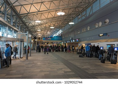 TROMSO, NORWAY-JANUARY 23, 2018: The airport hall from Tromso airport with the check in area