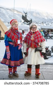 Tromso,february 8. The working Lappish women in traditional clothes.Ttomso. 2015, Norway