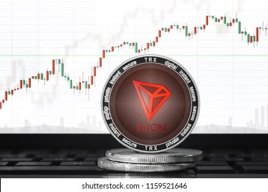 TRON (TRX) cryptocurrency; tron coin on the background of the chart