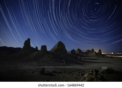Trona Pinnacles 01 North Star Star Trails California USA