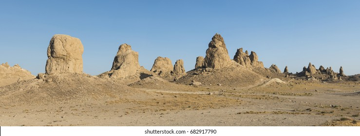 Trona Pinnacles are nearly 500 tufa spires hidden in California Desert National Conservation Area, not far from the Death Valley National Park, California, USA. Panoramic photo