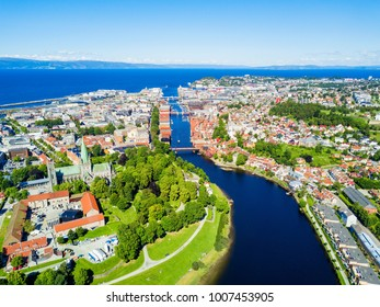 Trondheim city aerial panoramic view. Trondheim is the third most populous municipality in Norway.
