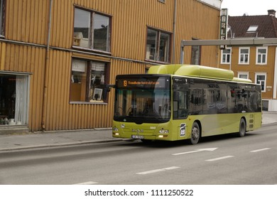 Trondheim, Trøndelag, Norway - 01 April 2018: Public bus 19 of the Trondheim transport company AtB on the way to Trondheim central station (Trondheim Sentralstasjon).