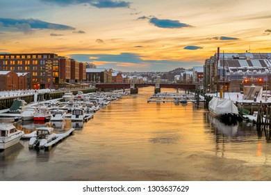Trondheim, Norway -  02/01/2019 Colorful twilight at the river Nidelva in the Norwegian city Trondheim in the winter