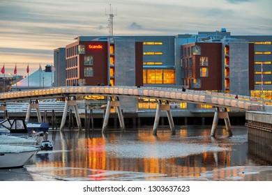 Trondheim, Norway - 02/01/2019 : Flower Bridge in the Norwegian city trondheim at winter twilight