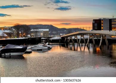 Trondheim, Norway 02/01/2019 : Flower Bridge in the Norwegian city Trondheim during cold winter sunset