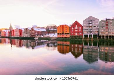 Trondheim, Norway -  02/01/2019 River Nidelva in the Norwegian city Trondheim during old winter sunset