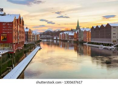 Trondheim, Norway -  02/01/2019 : River Nidelva in the Norwegian city Trondheim during cold winter sunset