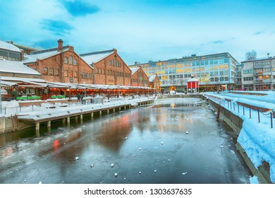Trondheim, Norway -  02/01/2019 Shopping moll Solsiden in the Norwegian city Trondheim during cold winter sunset