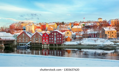 Trondheim, Norway -  02/01/2019 : The view of the river Nidelva  in the snowy Trondheim